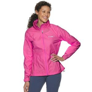 Columbia pink hooded packable jacket XL